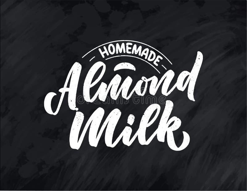 Iscrizione del latte della mandorla per la progettazione dell'insegna, di logo e di imballaggio Alimento sano di nutrizione organ royalty illustrazione gratis