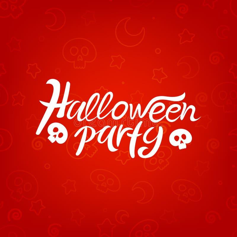 Iscrizione del partito di Halloween con i crani immagine stock