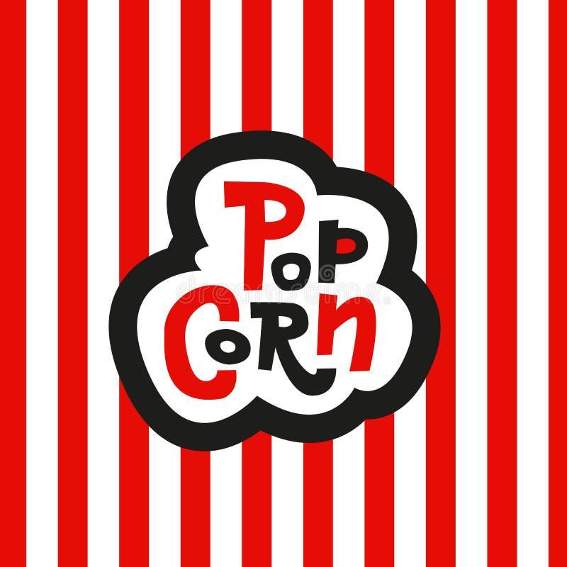 Iscrizione del popcorn con lettere dell'autoadesivo su fondo rosso e bianco a strisce Segno disegnato a mano di vettore illustrazione di stock