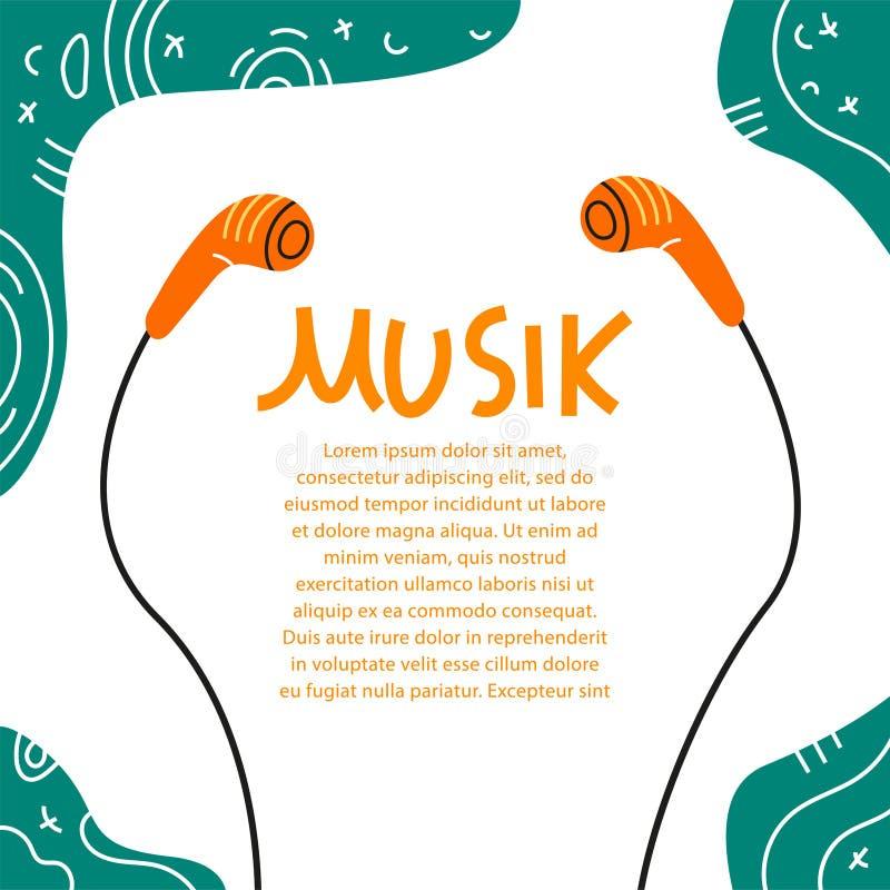 Iscrizione del simbolo musicale con lettere di progettazione dell'illustrazione di vettore delle cuffie che segna il fondo con le illustrazione vettoriale
