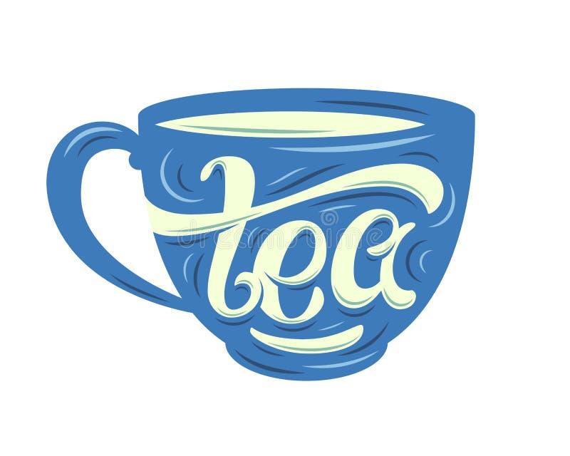 Iscrizione del tè sulla tazza illustrazione di stock