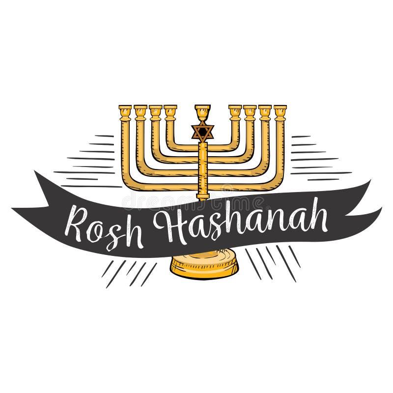 Iscrizione del testo di Rosh HaShanah Progettazione ebrea felice della cartolina d'auguri di Menorah del nuovo anno con il fumett illustrazione di stock