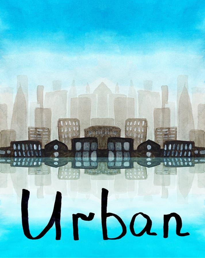 Iscrizione dell'acquerello urbana con la siluetta dell'grattacieli di mattina in una nebbia Cielo blu, costruzioni simmetriche co royalty illustrazione gratis