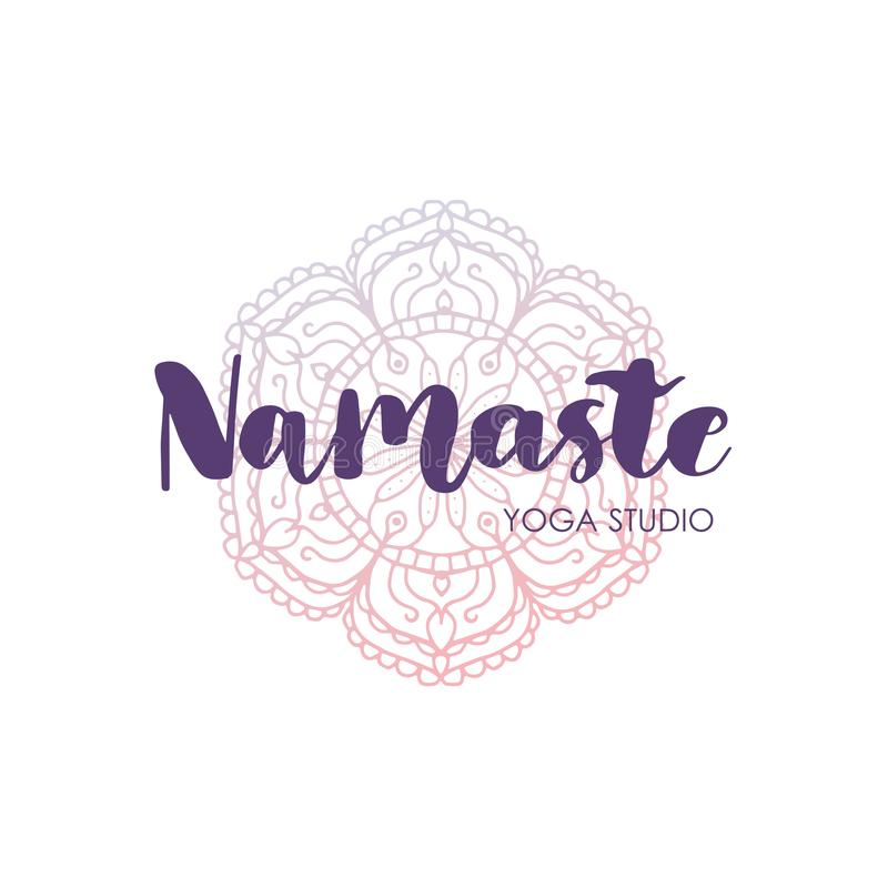 Iscrizione dell'iscrizione del disegno della mano con la mandala La parola Namaste Illustrazione di vettore per stampare progetta royalty illustrazione gratis