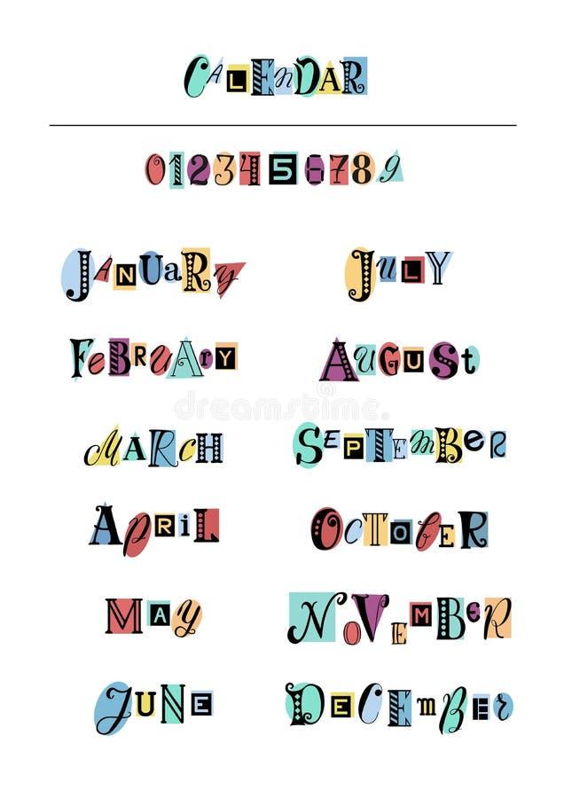 Iscrizione dell'insieme con lettere dei mesi dell'anno e dei numeri con le lettere nere sulle forme variopinte illustrazione di stock