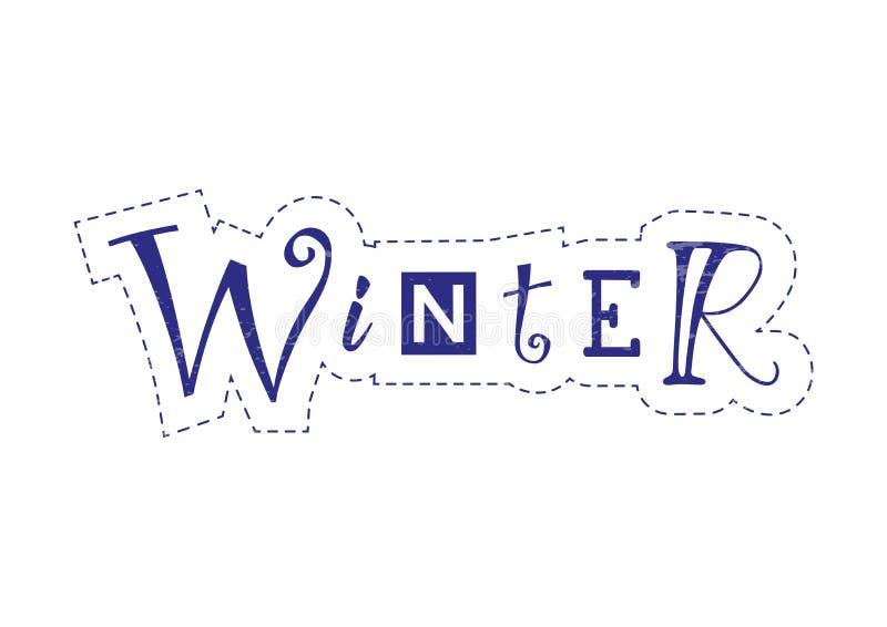 Iscrizione dell'inverno con differenti lettere in blu con il profilo tratteggiato su fondo bianco royalty illustrazione gratis