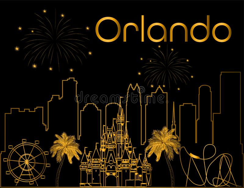 Iscrizione dell'oro di Orlando sul backround nero Vettore con il grattacielo, le icone di viaggio ed i fuochi d'artificio Cartoli illustrazione vettoriale