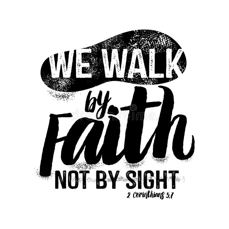 Iscrizione della bibbia Christian Art Camminiamo da fede, non da vista illustrazione vettoriale