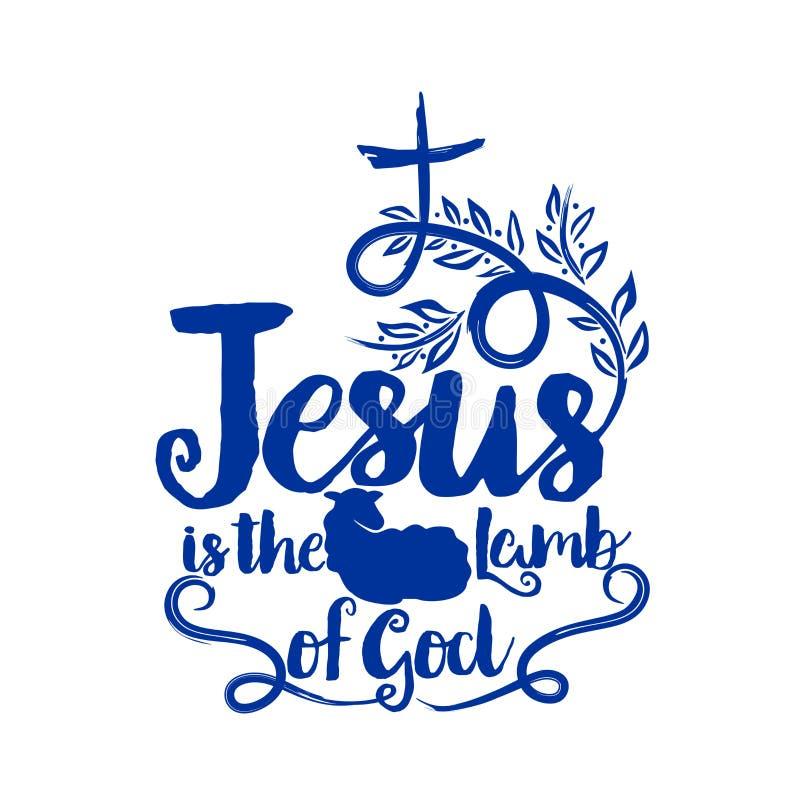 Iscrizione della bibbia Christian Art Ia di Gesù l'agnello di Dio illustrazione di stock