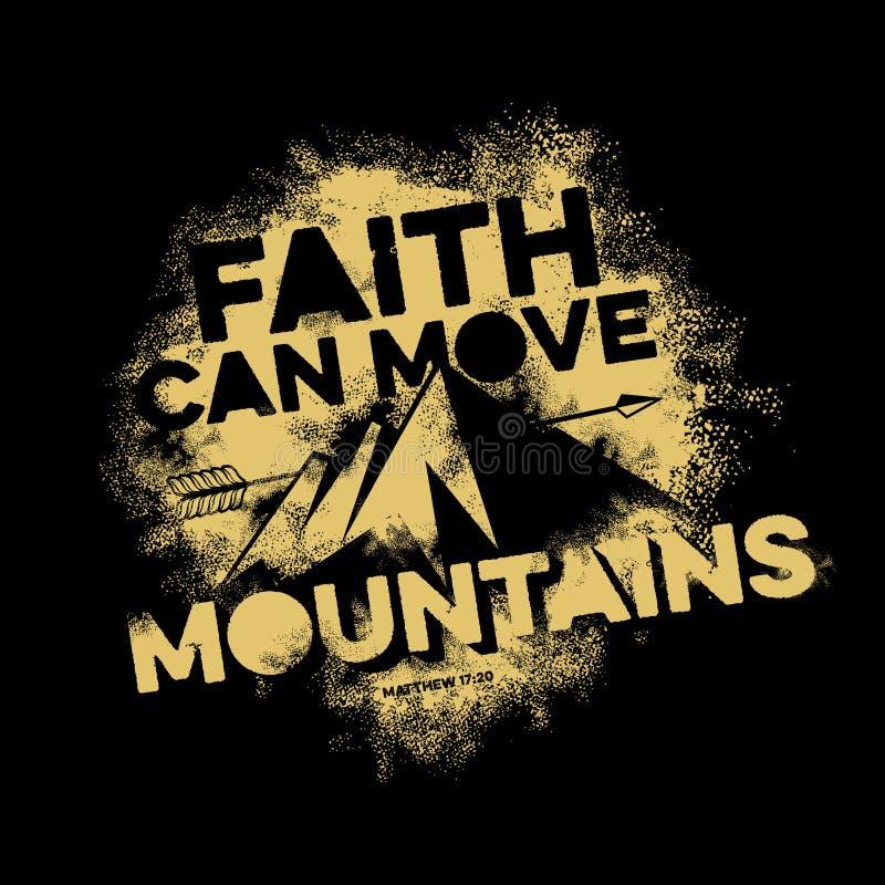 Iscrizione della bibbia Christian Art La fede può muovere le montagne illustrazione di stock