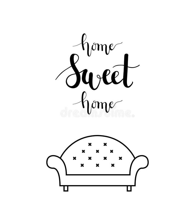Iscrizione della casa dolce casa in un salone illustrazione di stock