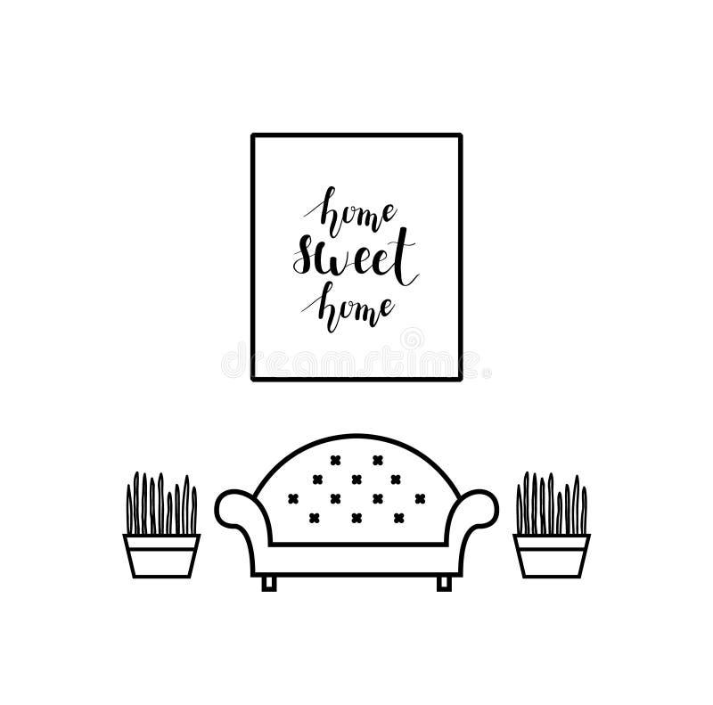 Iscrizione della casa dolce casa in un salone illustrazione vettoriale