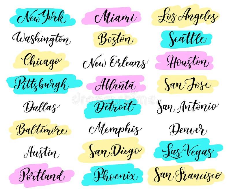 Iscrizione della città di U.S.A. New York, Miami, Boston, Dallas, Washington, Atlanta, Chicago, Detroit, Baltimora Los Angeles, L illustrazione vettoriale