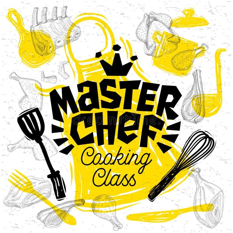Iscrizione della classe di cottura del cuoco unico matrice di stile di schizzo Segno, logo, emblema Illustrazione disegnata a man illustrazione vettoriale