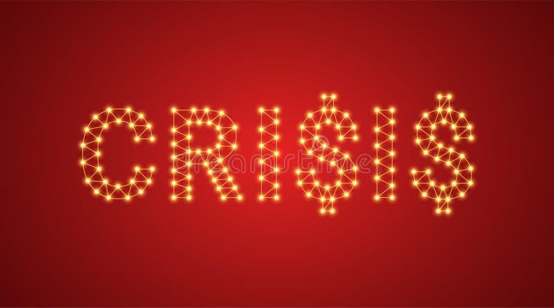Iscrizione della crisi con le lampade al neon Illustrazione di vettore, testo d'ardore della crisi nel colore dorato Elemento gra royalty illustrazione gratis