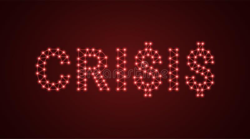Iscrizione della crisi con le lampade al neon Illustrazione di vettore, testo d'ardore della crisi nel colore rosso Elemento graf illustrazione vettoriale