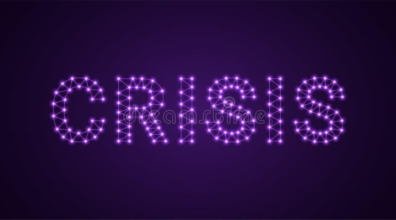 Iscrizione della crisi con le lampade al neon Illustrazione di vettore, testo d'ardore della crisi nel colore viola Elemento graf illustrazione di stock