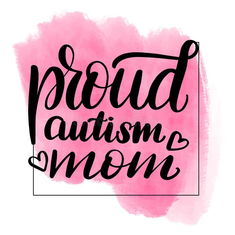 Iscrizione della mamma con lettere fiera di autismo illustrazione vettoriale