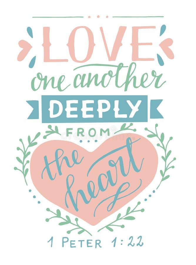 Iscrizione della mano con l'amore uno di verso della bibbia un altro profondamente dal cuore illustrazione di stock
