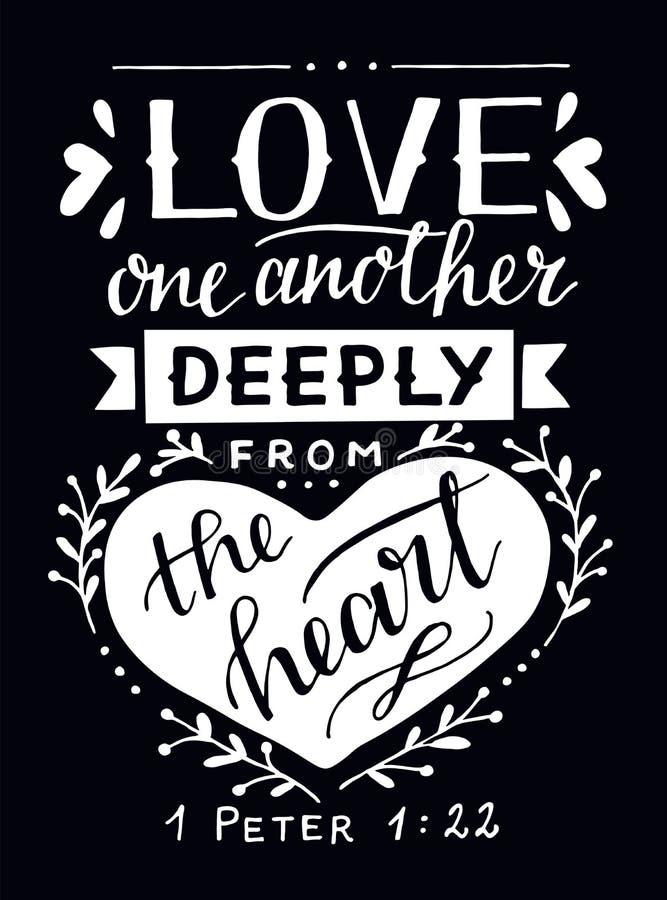 Iscrizione della mano con l'amore uno di verso della bibbia un altro profondamente dal cuore su fondo nero royalty illustrazione gratis