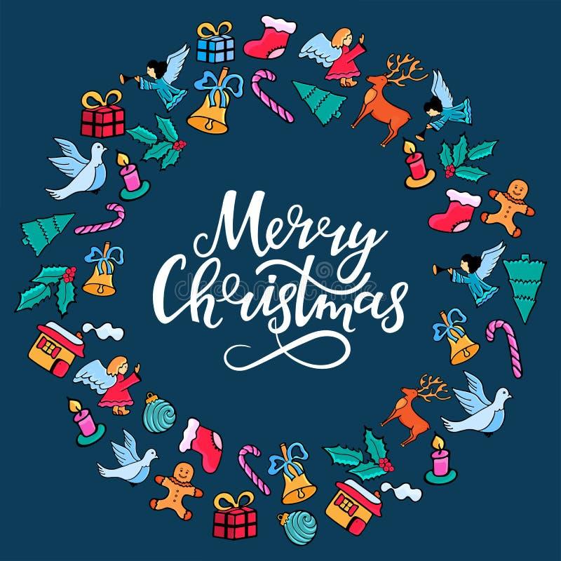 Iscrizione della mano di Buon Natale Struttura rotonda festiva per il nuovo anno nello stile di scarabocchio su fondo blu illustrazione di stock