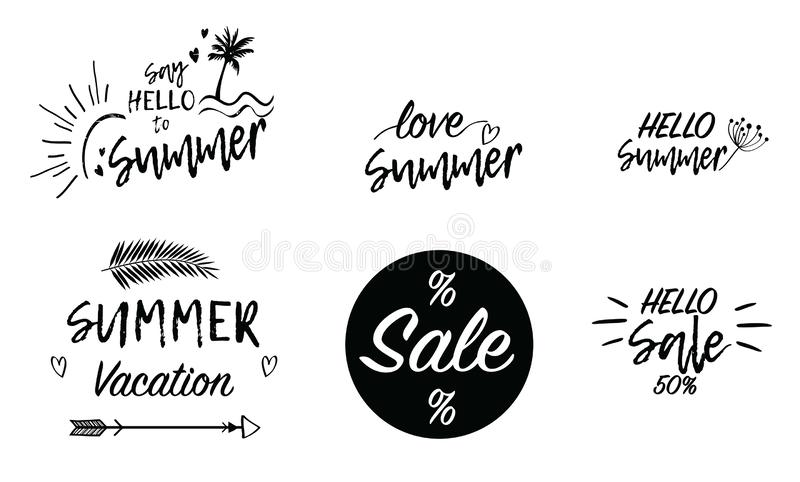 Iscrizione della scrittura del testo del fondo di vacanza di vendita di estate di amore Carta da parati, alette di filatoio, stik illustrazione vettoriale