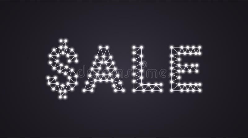 Iscrizione della vendita con le lampade al neon Illustrazione di vettore, testo d'ardore della vendita nel colore bianco Elemento illustrazione di stock