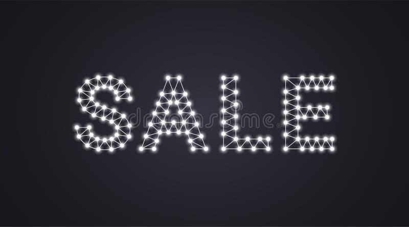 Iscrizione della vendita con le lampade al neon Illustrazione di vettore, testo d'ardore della vendita nel colore bianco Elemento royalty illustrazione gratis