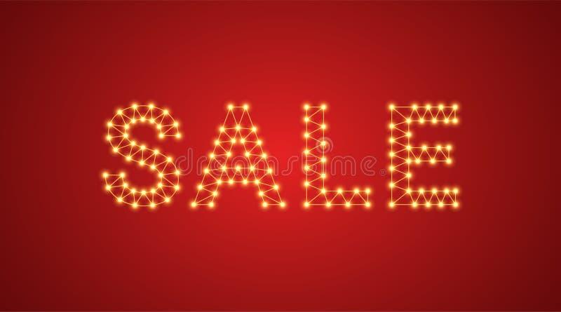 Iscrizione della vendita con le lampade al neon Illustrazione di vettore, testo d'ardore della vendita nel colore dorato Elemento illustrazione vettoriale