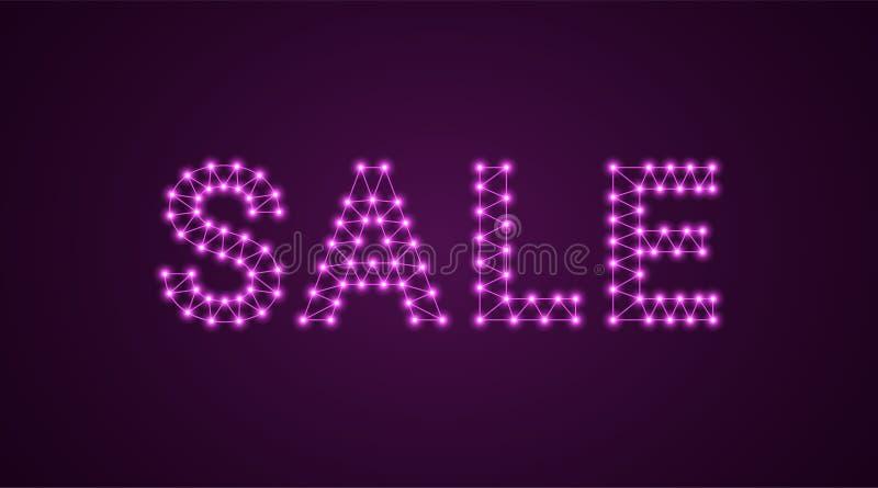 Iscrizione della vendita con le lampade al neon Illustrazione di vettore, testo d'ardore della vendita nel colore porpora Element illustrazione vettoriale