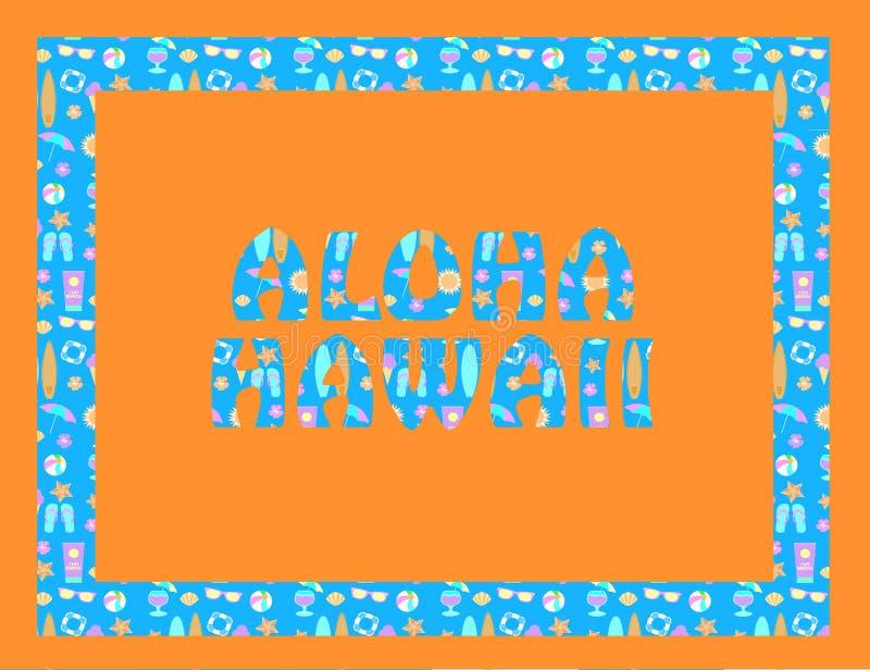 Iscrizione di Aloha Hawaii sul backround arancio Lettere tropicali di vettore con le icone variopinte della spiaggia su backround royalty illustrazione gratis