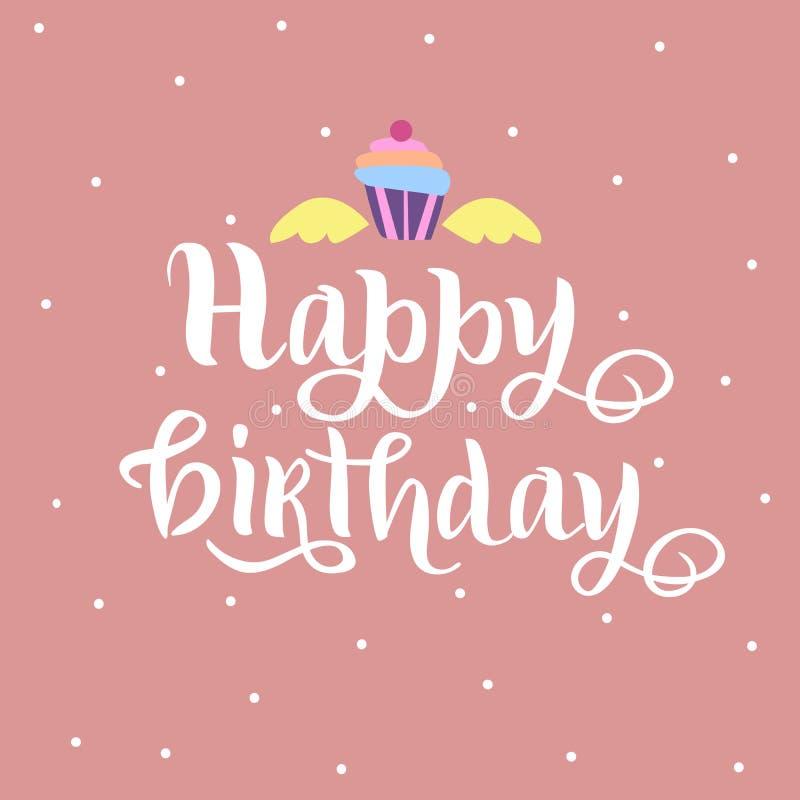 Iscrizione di buon compleanno con le ali ed il dolce come distintivo, etichetta, icona, carta di celebrazione, invito, cartolina, illustrazione vettoriale