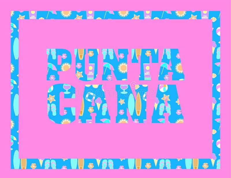 Iscrizione di Cana di sicoPunta del ¡ del bà di RGB sul backround rosa Lettere tropicali di vettore con le icone variopinte della illustrazione vettoriale
