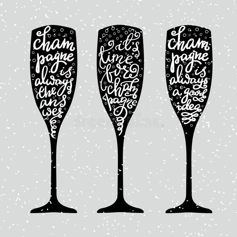 Iscrizione di Champagne New Years royalty illustrazione gratis