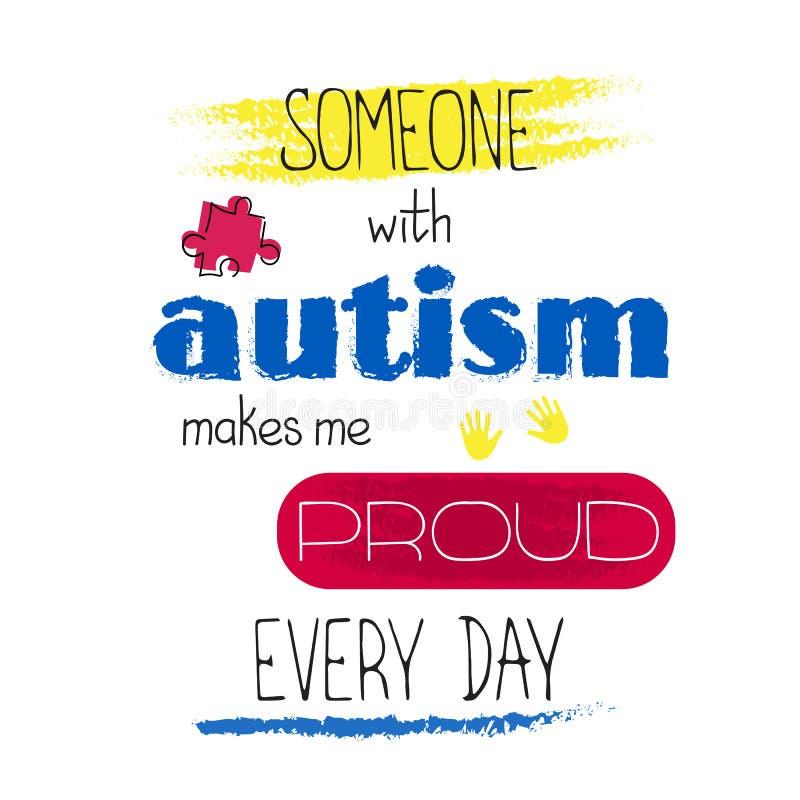 Iscrizione di consapevolezza di autismo illustrazione di stock