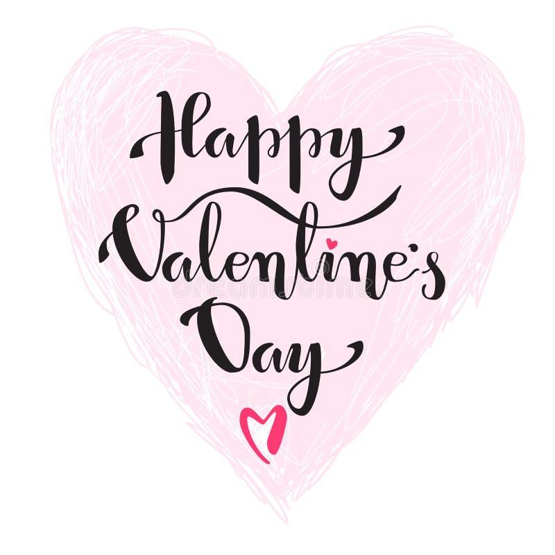 Iscrizione di festa di vettore Giorno felice del ` s del biglietto di S. Valentino nel BAC bianco royalty illustrazione gratis