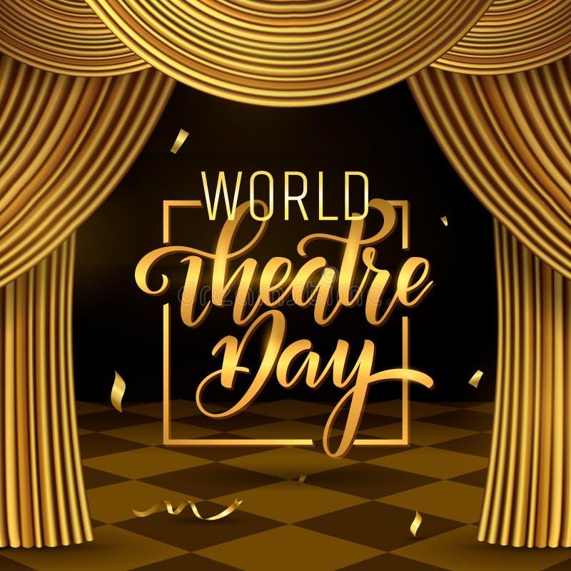 Iscrizione di giorno del teatro del mondo Modello della carta dell'invito del partito di carnevale feste della molla Illustrazion illustrazione vettoriale