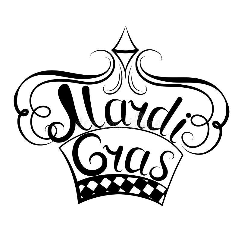Iscrizione di Mardi Gras crown Decorazione per il festival di New Orleans illustrazione vettoriale