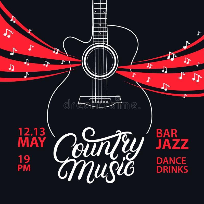 Iscrizione di musica country e manifesto della chitarra scritti mano illustrazione di stock