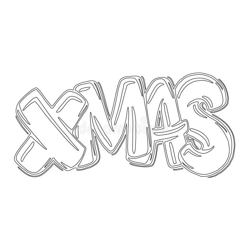 Iscrizione di Natale Pagina di stile decorativa disegnata a mano di scarabocchio di Natale Modello per il libro da colorare Anno  illustrazione di stock