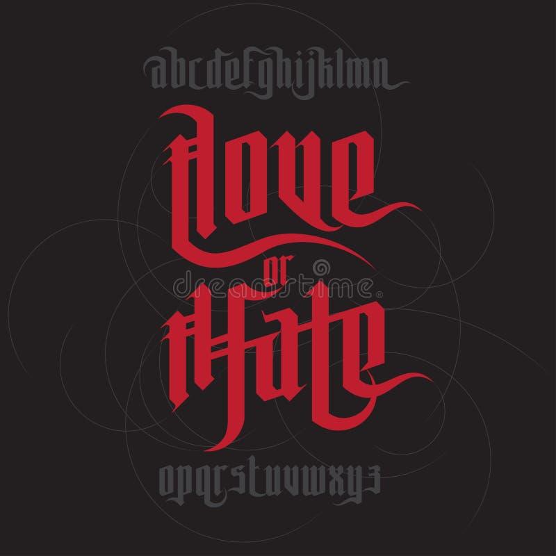 Iscrizione di odio e di amore illustrazione vettoriale