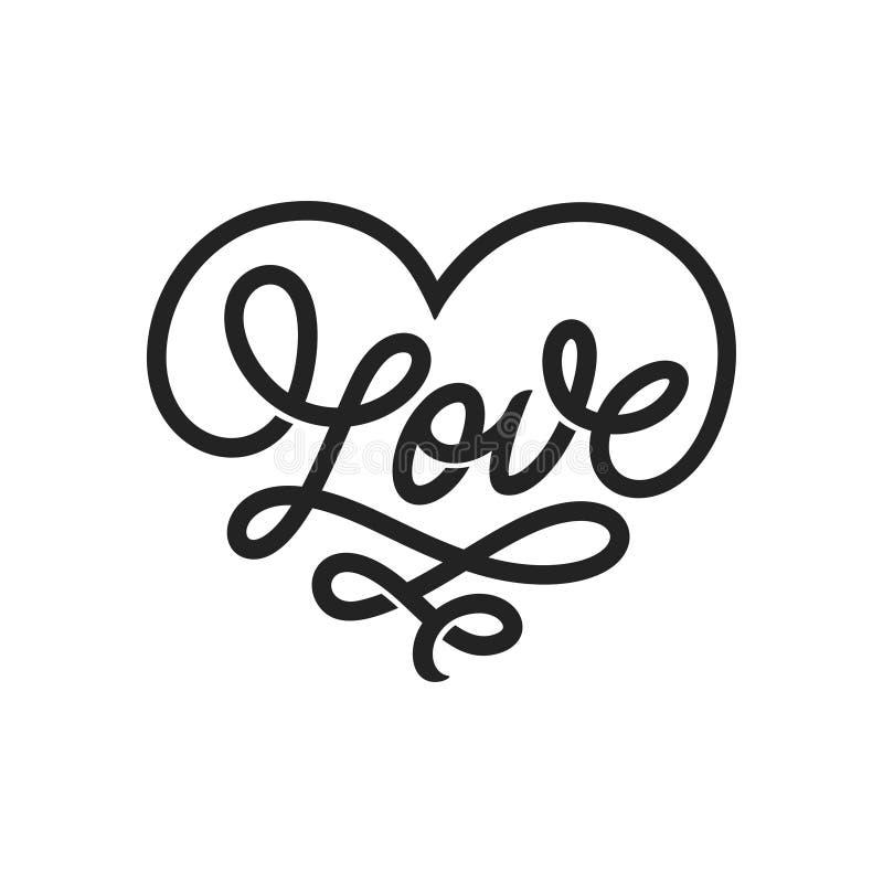 Iscrizione di parola di amore nella forma di cuore Illustrazione dell'annata di vettore royalty illustrazione gratis