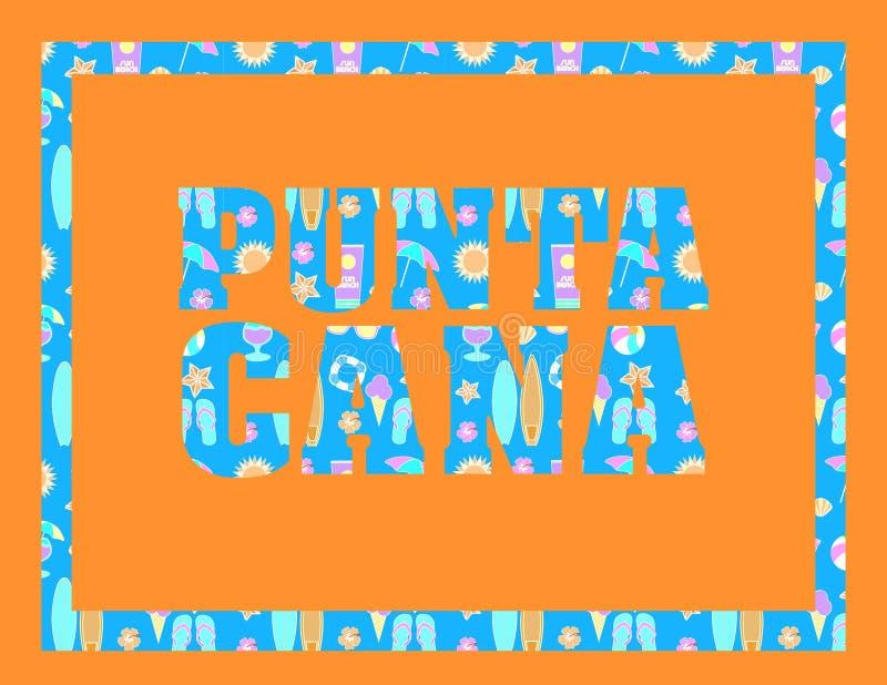 Iscrizione di Punta Cana sul backround arancio Lettere tropicali di vettore con le icone variopinte della spiaggia su backround b illustrazione vettoriale