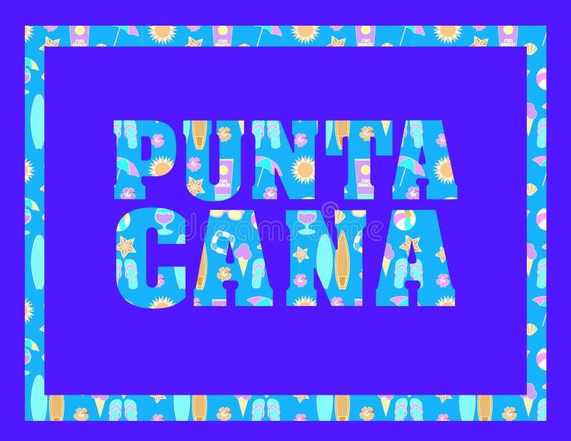 Iscrizione di Punta Cana sul backround blu Lettere tropicali di vettore con le icone variopinte della spiaggia su backround blu-c royalty illustrazione gratis