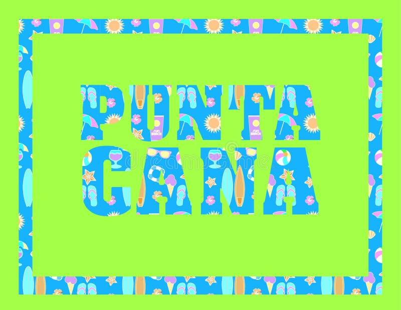 Iscrizione di Punta Cana sul backround verde Lettere tropicali di vettore con le icone variopinte della spiaggia su backround blu illustrazione vettoriale