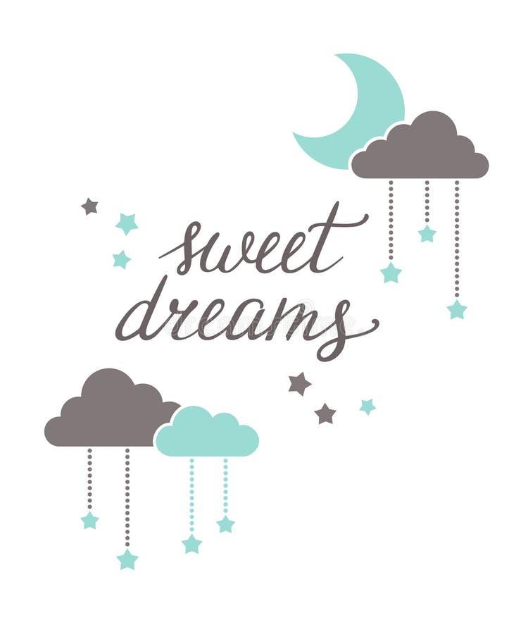 Iscrizione di sogni dolci illustrazione vettoriale