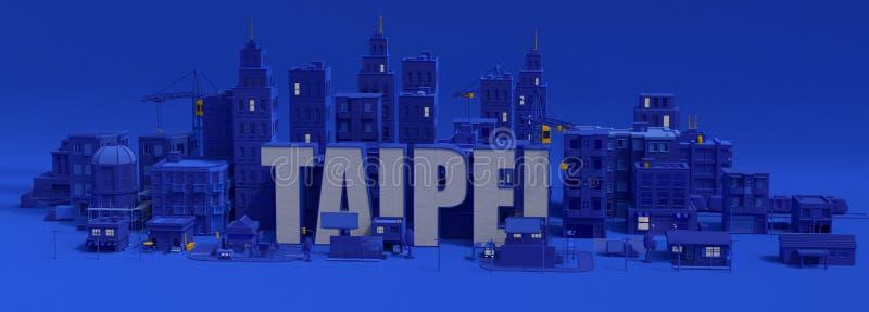 Iscrizione di Taipei, città della rappresentazione 3d illustrazione di stock