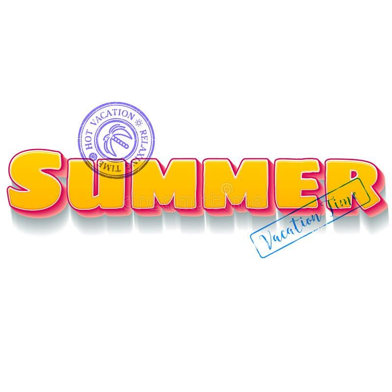 Iscrizione di tema di vacanze estive con i bolli blu di viaggio illustrazione vettoriale