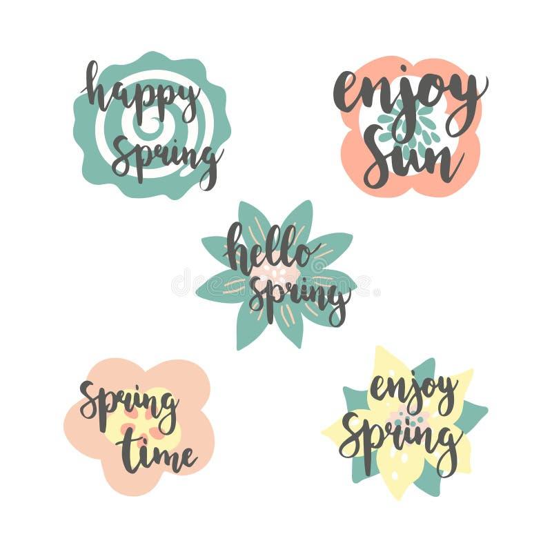 Iscrizione di tempo di primavera con i fiori variopinti nel fondo, cartoline d'auguri messe illustrazione vettoriale