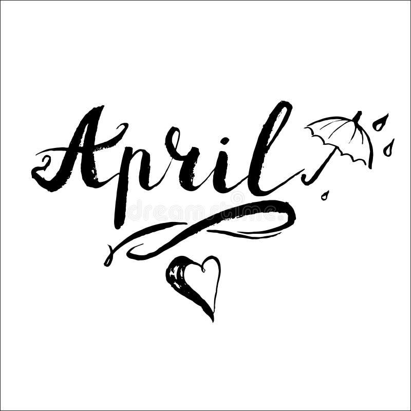 Iscrizione di vettore dell'ombrello della pioggia di aprile illustrazione di stock